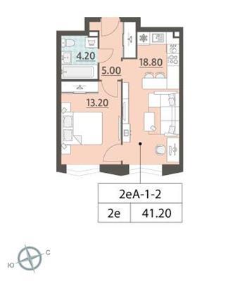 1-комн квартира, 41.2 м2, 2 этаж - фото 1