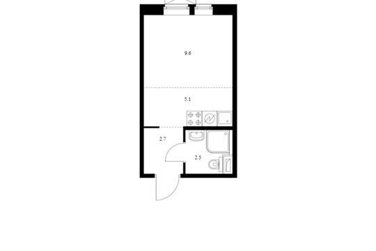 Студия, 19.9 м2, 6 этаж