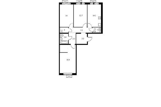 3-комн квартира, 83.6 м<sup>2</sup>, 11 этаж_1