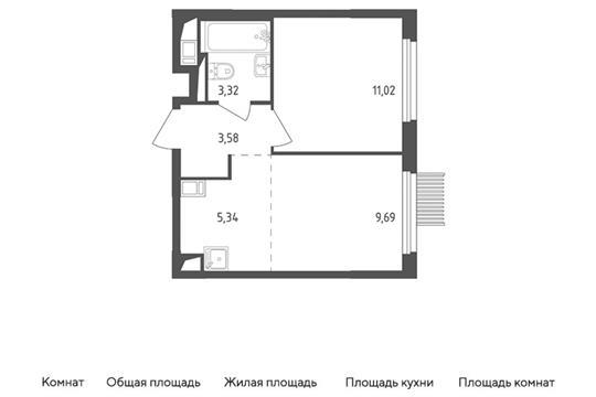 2-комн квартира, 32.95 м2, 12 этаж