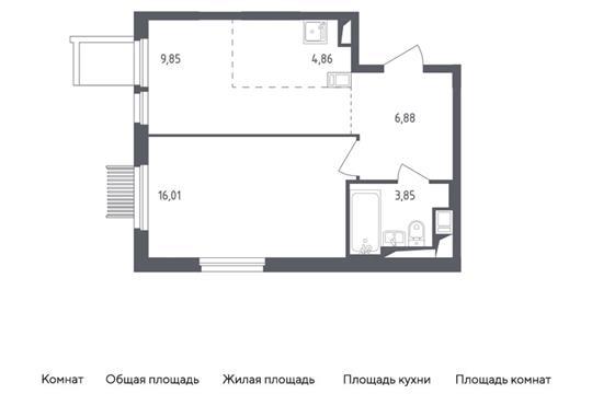 2-комн квартира, 41.45 м2, 2 этаж
