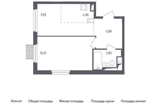 2-комн квартира, 41.45 м<sup>2</sup>, 2 этаж_1