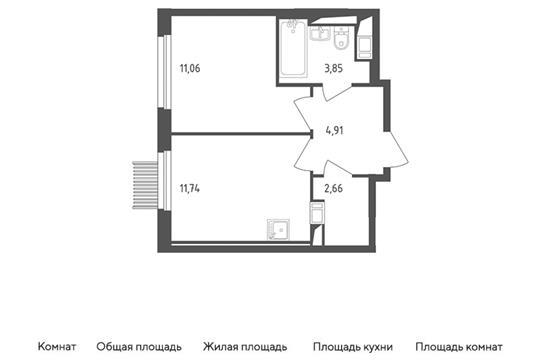 1-комн квартира, 34.22 м2, 6 этаж
