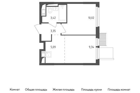 2-комн квартира, 31.22 м<sup>2</sup>, 16 этаж_1