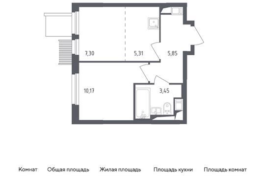 2-комн квартира, 32.08 м2, 15 этаж