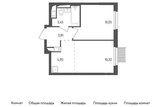 2-комн квартира, 32.58 м2, 12 этаж