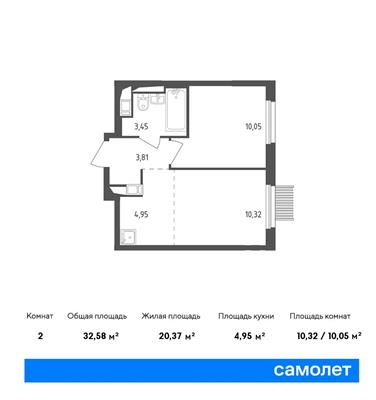 2-комн квартира, 32.58 м2, 12 этаж - фото 1