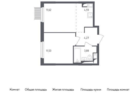2-комн квартира, 36.23 м2, 2 этаж