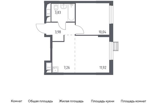 2-комн квартира, 37.03 м2, 9 этаж
