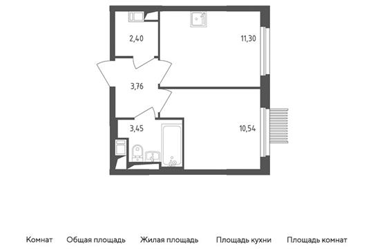1-комн квартира, 31.45 м2, 11 этаж