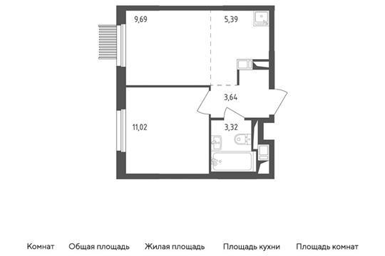 2-комн квартира, 33.06 м2, 3 этаж