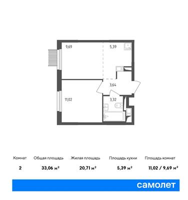 2-комн квартира, 33.06 м2, 3 этаж - фото 1