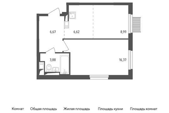 2-комн квартира, 42.53 м2, 6 этаж
