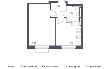 1-комн квартира, 38.05 м2, 21 этаж