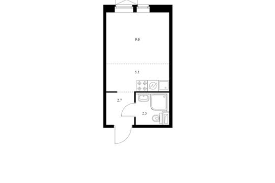 Студия, 19.9 м2, 2 этаж
