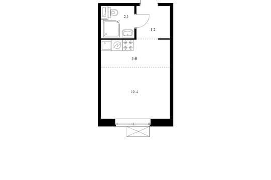 Студия, 21.7 м2, 8 этаж