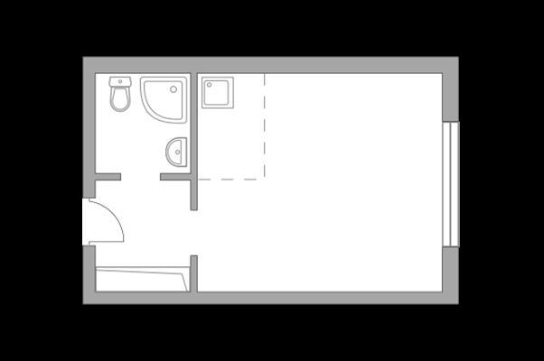 Студия, 22.75 м2, 1 этаж - фото 1