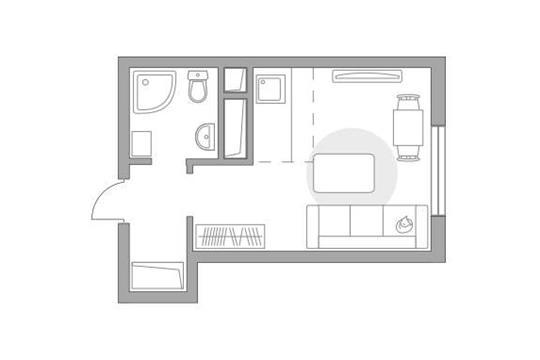 Студия, 21.42 м2, 24 этаж