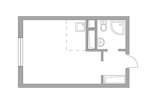 Студия, 23.3 м2, 19 этаж