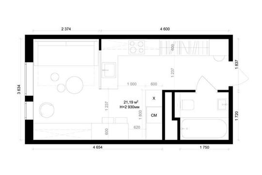 Студия, 21.5 м2, 1 этаж