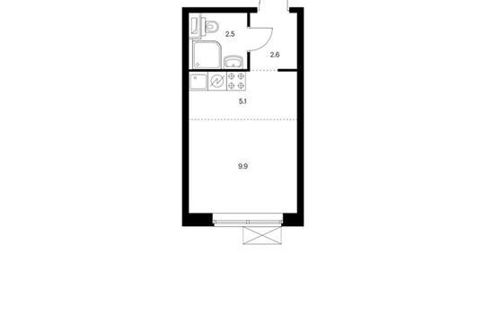 Студия, 20.1 м2, 2 этаж