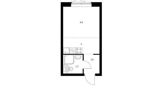 Студия, 19.9 м2, 19 этаж