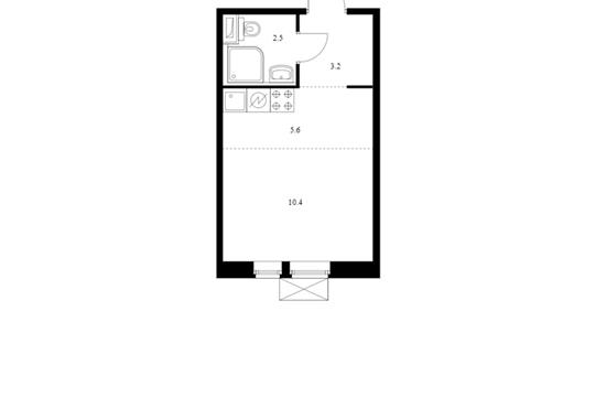Студия, 21.7 м2, 5 этаж