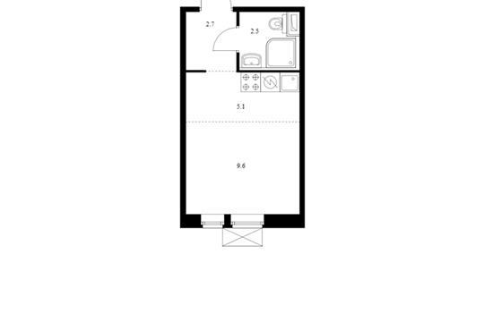 Студия, 19.9 м<sup>2</sup>, 2 этаж_1
