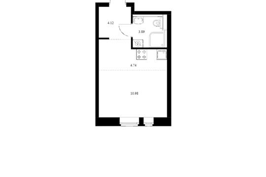 Студия, 23.73 м2, 3 этаж