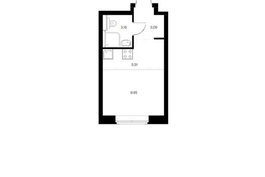 Студия, 21.71 м2, 9 этаж
