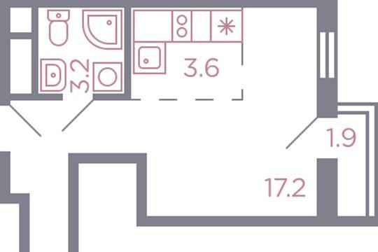 Студия, 24.6 м2, 12 этаж