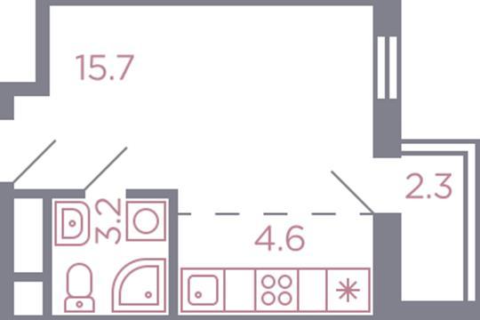 Студия, 25.8 м2, 6 этаж