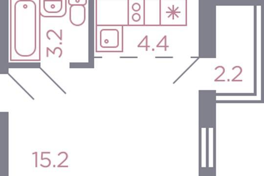 Студия, 25 м2, 6 этаж