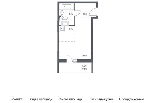 Студия, 26.04 м2, 2 этаж