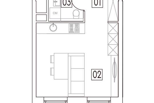 Студия, 27.9 м2, 6 этаж