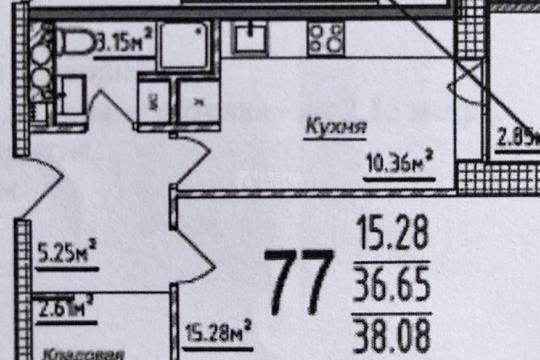 1-комн квартира, 38.08 м2, 3 этаж