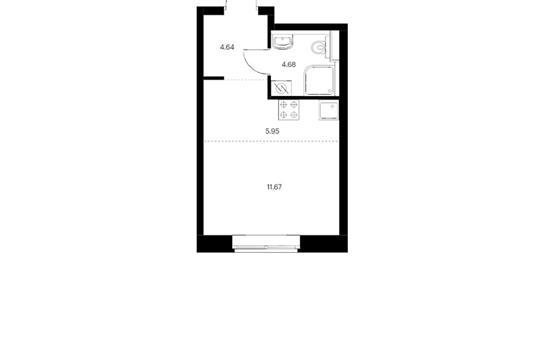 Студия, 24.07 м2, 6 этаж