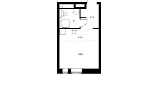 Студия, 21.71 м2, 3 этаж