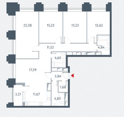 3-комн квартира, 127.5 м2, 18 этаж - фото 1