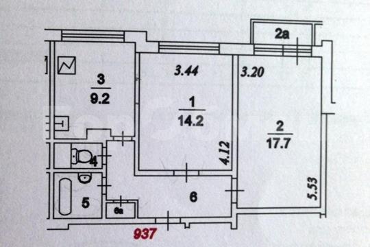 2-комн квартира, 54 м2, 7 этаж