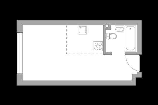 Студия, 25.6 м2, 21 этаж