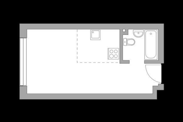 Студия, 25.6 м2, 17 этаж - фото 1