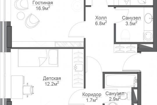 3-комн квартира, 84.8 м<sup>2</sup>, 14 этаж_1