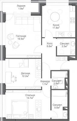 3-комн квартира, 84.8 м2, 14 этаж - фото 1