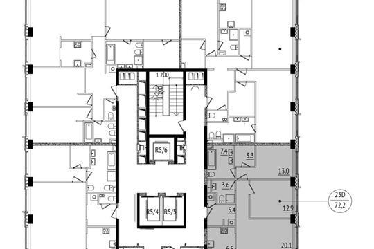 3-комн квартира, 72.2 м<sup>2</sup>, 28 этаж_1