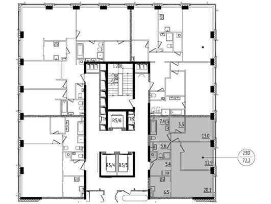 3-комн квартира, 72.2 м2, 28 этаж - фото 1