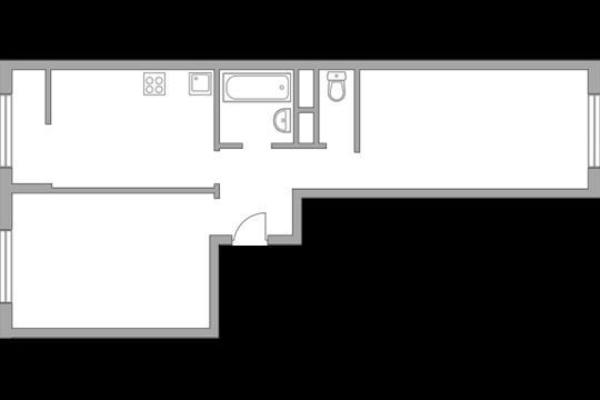 2-комн квартира, 53.46 м2, 9 этаж
