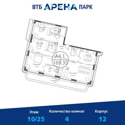 4-комн квартира, 169.35 м2, 10 этаж - фото 1