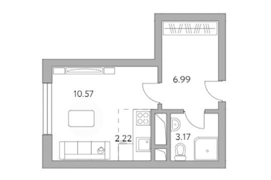 Студия, 22.95 м2, 9 этаж