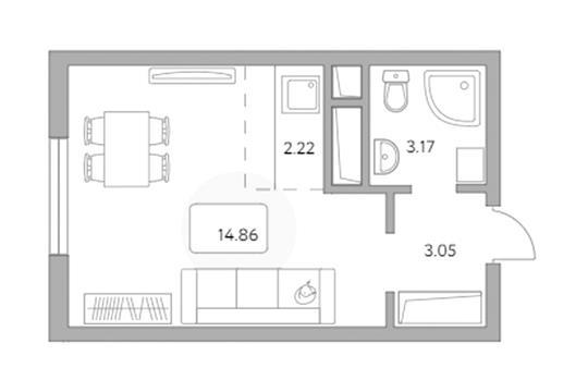 Студия, 23.3 м2, 16 этаж